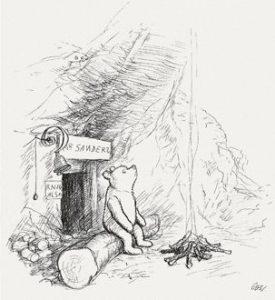 Winnie the Pooh drawn by E. H. Shepard.