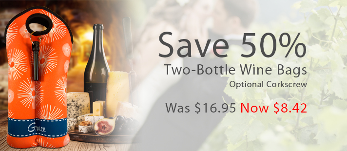 Save on two bottle wine totes - Only $8.42