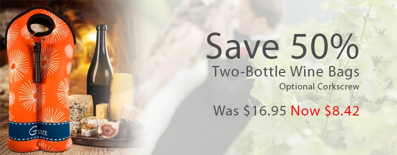 half off two bottle wine bags