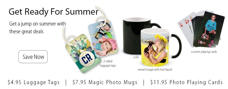Summer Sale 2017 - $4.95 2-Sided Luggage Tags, $7.95 Color Changing Magic Mugs, $11.95 Custom Playing Cards