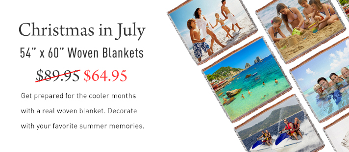 Christmas in July! Get ready for the cooler months with a custom woven blanket. Now on sale for only $64.95.