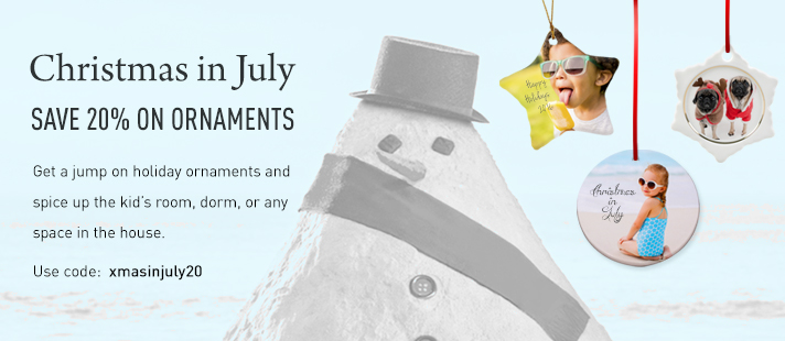 Christmas in July! Get 20 Percent Off on Xmas ornaments.